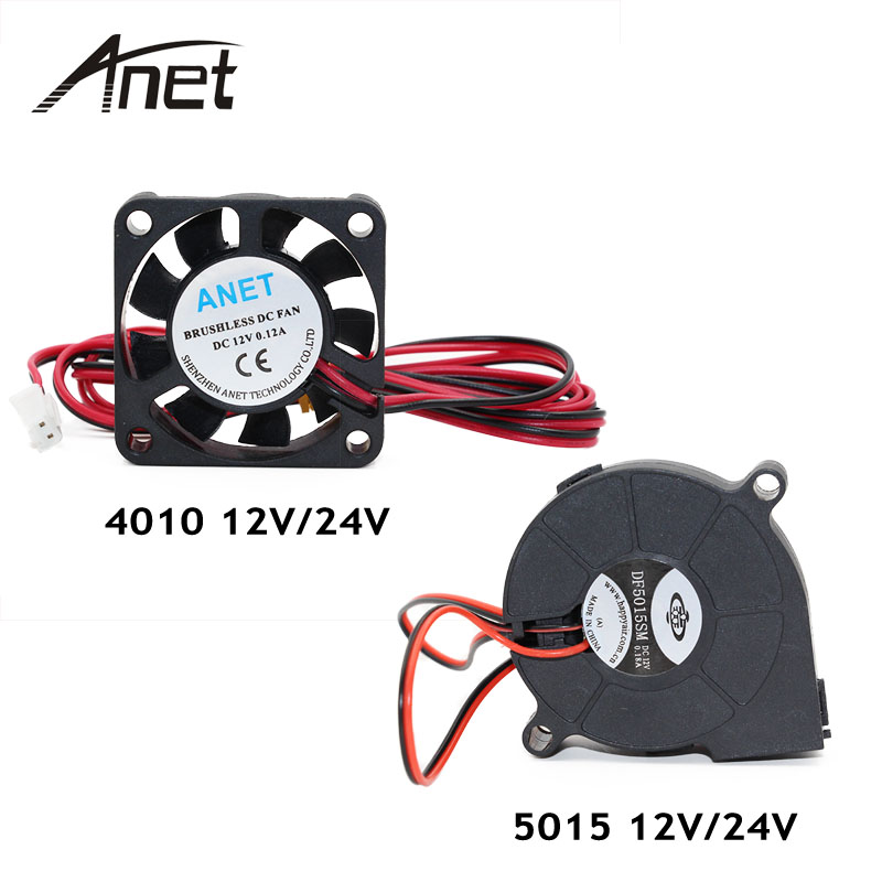 Anet A6 A8 DC Cooling Fan 5015 Turbo fan 4010 Fan 12V/24V Hot End Extruder For MakerBot RepRap UP Mendel I3 Printer dc24v cooling extruder 5015 air blower 40 10fan for anet a6 a8 circuit board heat reprap mendel prusa i3 3d printer parts