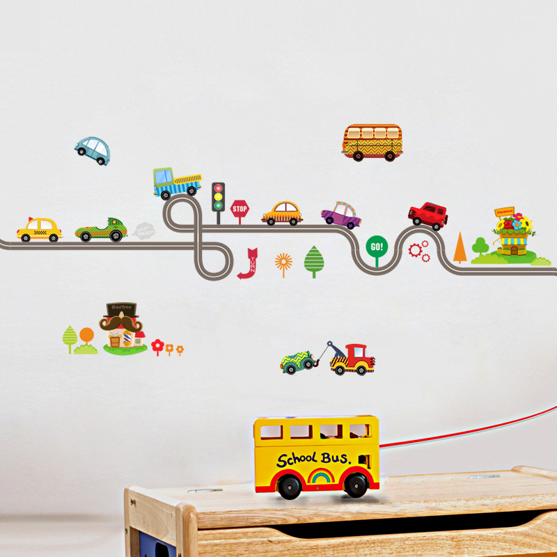Cartoon Cars Highway Track Wall Stickers 4