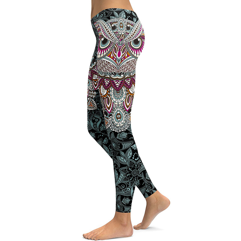 656d5aeb18e09 ... 2017 Skinny Christmas holiday sweatpants 3D printed Owl paisley Mosaic  women's yoga pants Running leggings Gym ...