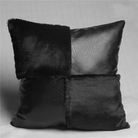 High end fur leather & pu plush sofas Cushion Cover Europe new soft cushion case sofa bed car home room Dec wholesale FG1063