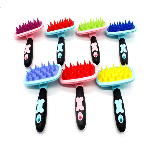 Soft Silicone Pet Teedy Dog Brush Hair Bristles Message Bathing Supplies Combs Dogs Peines Para Perro Pets Honden Kammen 50Z1153