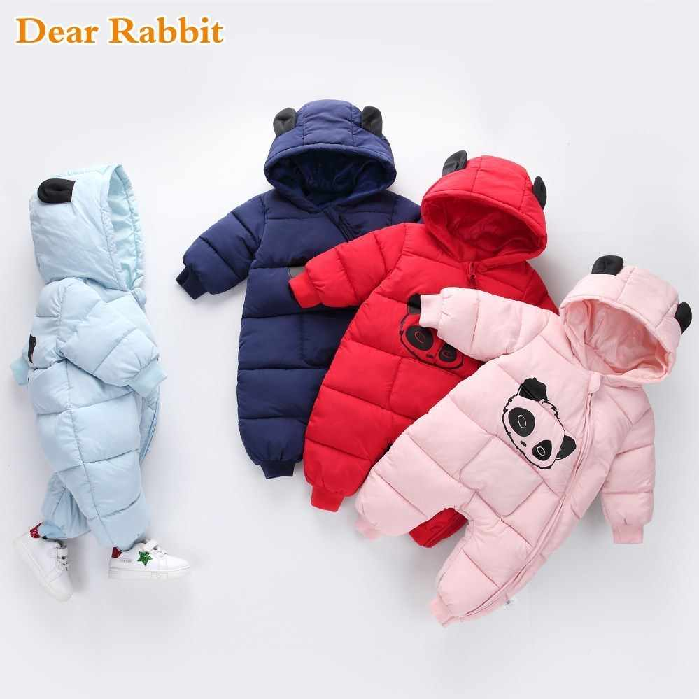 ccc8fbfe0be5 Baby boy girl Clothes 2018 New born Winter Hooded Rompers Thick Cotton  Outfit Newborn Jumpsuit Children