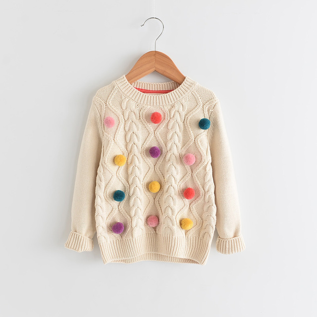 7a7742f03 Toddler Girl Knit Sweater Tops Kids Pullover Cable Sweaters Colorful ...