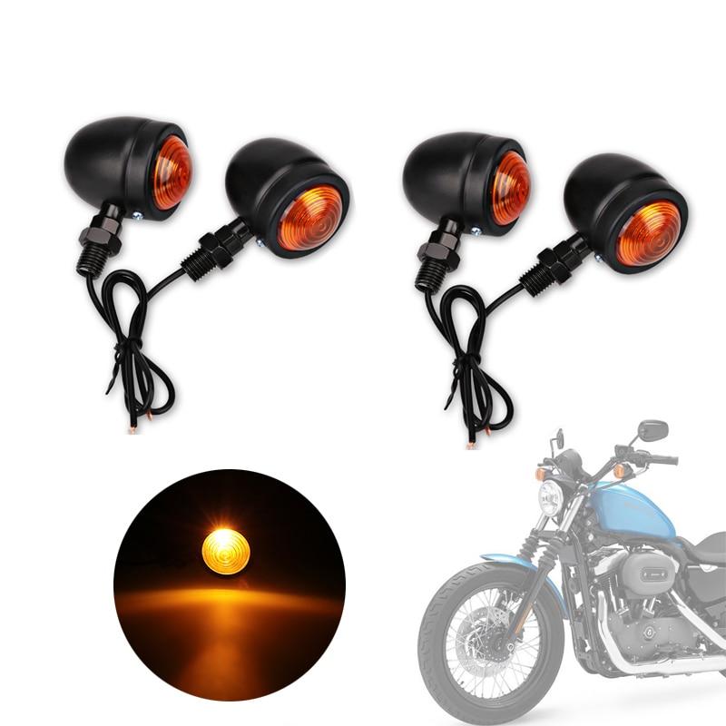 4pcs Black Bullet Motorcycle Turn Signal Lamp Light 10mm for Harley Fatboy Chopper Bobber Cafe Racer Yamaha Suzuki Kawasaki