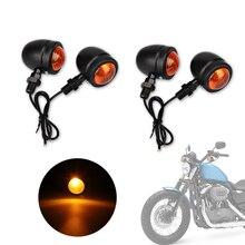 4 шт. Черный Пуля мотоцикл отложным воротником Сигнальные лампы 10 мм для Harley Fatboy Chopper Bobber Кафе Racer Yamaha Suzuki Kawasaki