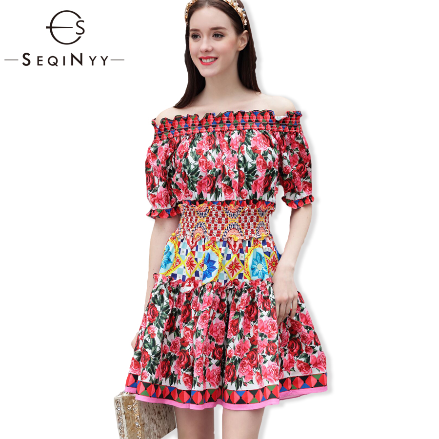SEQINYY Fashion Summer Dress 2018 New High Street Elastic Slash Neck Short Lantern Sleeve Mini Rose