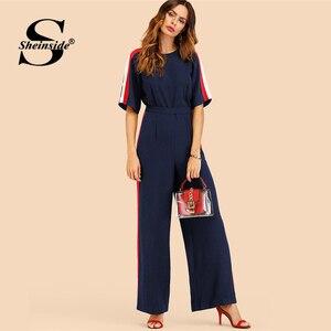 Sheinside Navy Striped Side Work Elegant Wide Leg Jumpsuit Office Ladies Half Sleeve High Waist 2018 Autumn Women Jumpsuits