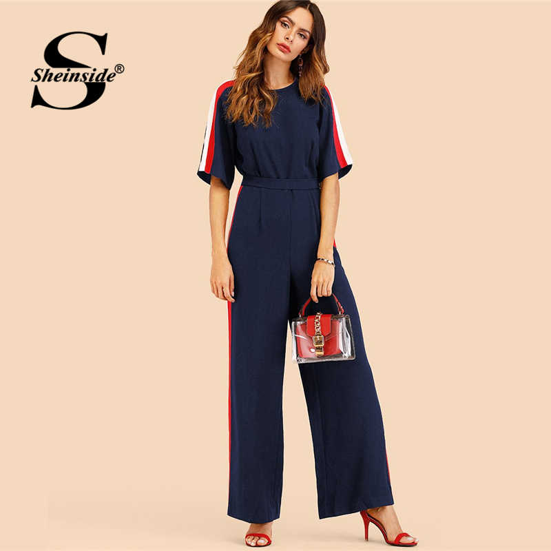 5673316f471c Detail Feedback Questions about Sheinside Navy Striped Side Work Elegant  Wide Leg Jumpsuit Office Ladies Half Sleeve High Waist 2018 Autumn Women  Jumpsuits ...