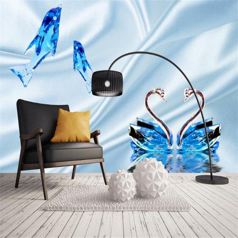 modern living room decor 3D wallpaper crystal dolphin swan silk mural home improvement girls bedroom wall art wall murals dsu new butterfly flower fairy wall sticker kids room bedroom removable decor art home mural