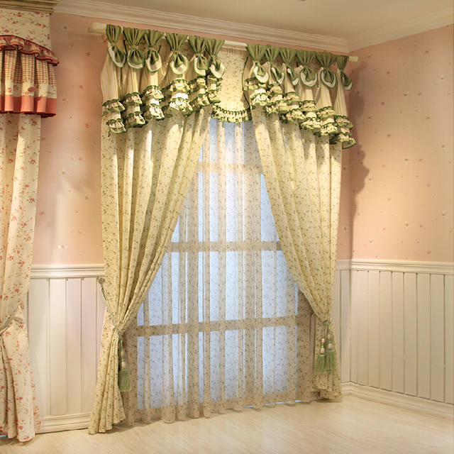 7stories Cotton Pastoral Green Finished Western Style Modern Curtain Bedroom Living Room Curtains Custom Atmosphere Window