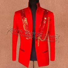 Red men sequins suits designs masculino homme terno stage costumes for singers jacket men b