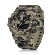 Military Camouflage Men Watch with Dual Time Display