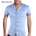 2015 Summer Fashion Style Mens Plaid Collar Shirts Brand High Quality Short Sleeve Shirt For Men Cotton Solid Camisa Social