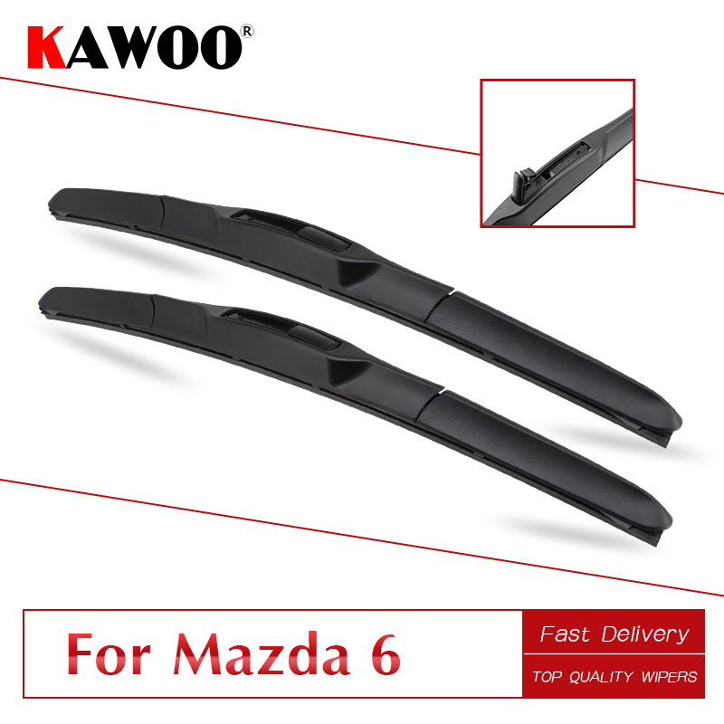 KAWOO For <font><b>Mazda</b></font> <font><b>6</b></font> <font><b>Wagon</b></font>/Sedan (GG1/GH1/GJ1/GL)/Hatchback(GH1/GG1) Car Wipers Blades Model Year From 2002 To 2016Fit U Hook Arm image