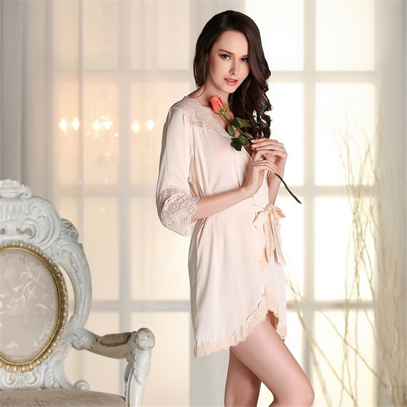 37e9605165 Wholesale Sexy women satin Robe nightwear real silk lace Half sleeve  sleepwear High-grade hollow out bathrobe nightgown
