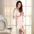 Wholesale Sexy women satin Robe nightwear real silk lace Half sleeve sleepwear High-grade hollow out bathrobe nightgown