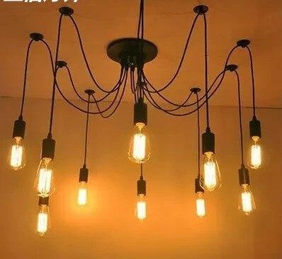 Retro Style Loft Vintage Pendant Lamp Fixtures With 10 Lights Bombilla Edison Industrial Lamp Indoor Lighting american edison loft style rope retro pendant light fixtures for dining room iron hanging lamp vintage industrial lighting