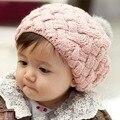 2016 Bebé de invierno Cap caliente de los Sombreros de Piel de Conejo Bola boina casquillo protector Del Oído Del niño otoño e invierno bebé de punto sombreros