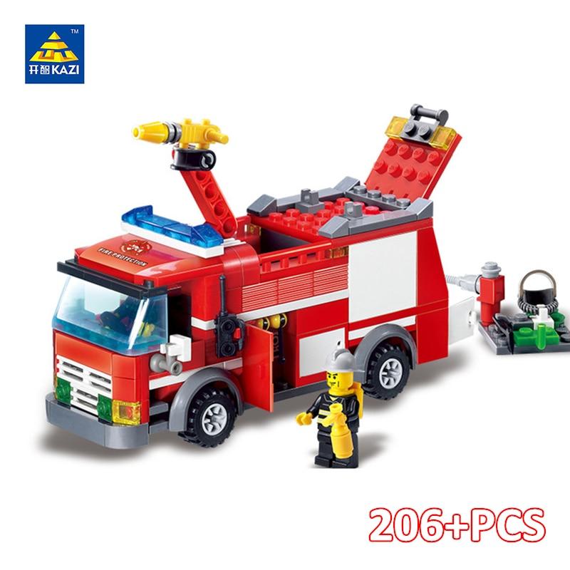 KAZI Városi Tűzoltó Teherautó Tégla Tűzoltó Jármű Modell Blokk Épület Műveleti ábra Játékok gyerekeknek