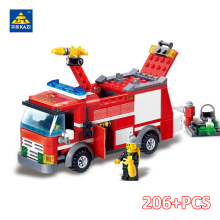 цены KAZI City Fire Fighting Truck Building Brick Firefighter Vehicle Model Block Building Action Figure Toys for Kid