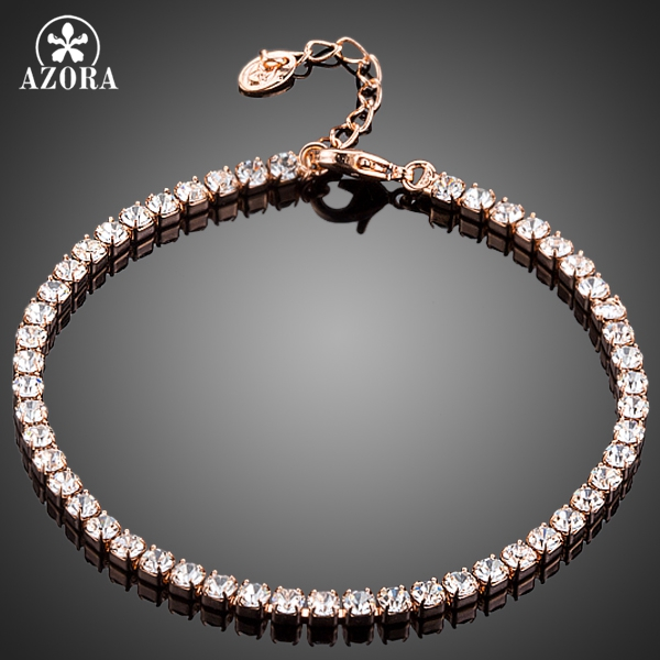 AZORA Fashion Jewelry Rose Gold Color with Full Clear Cubic Zirconia Bracelet for Women TS0112
