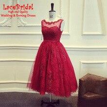 Luxury Burgundy A Line Beaded Applique Lace Cocktail Dresses 2017 Low V Back Tea-Length Party Prom Gowns gown de cocktail TC8