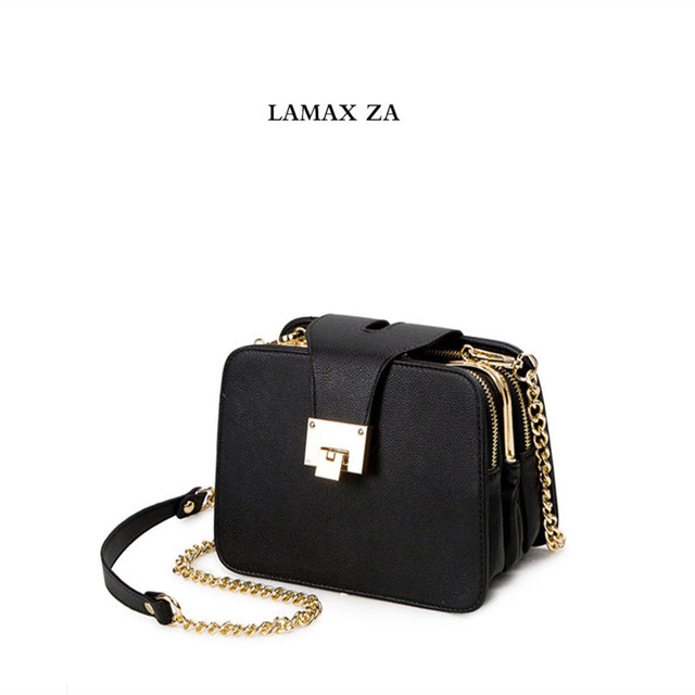 07d72dd34e LAMAX ZARA women leather handbags Chain Strap Flap female Shoulder Bag  Ladies Messenger Bags 2018 Buckle purses and handbag