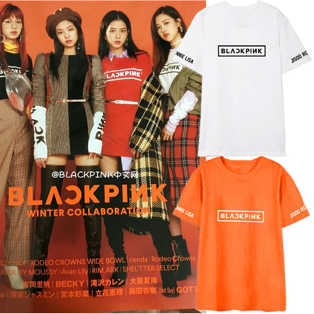 a1a95c51a7680 US $16.99 |blackpink 2018 Summer coat Short sleeved T shirt Korean version  KPOP men women Cotton black White gray Pink blue Letter printing-in ...