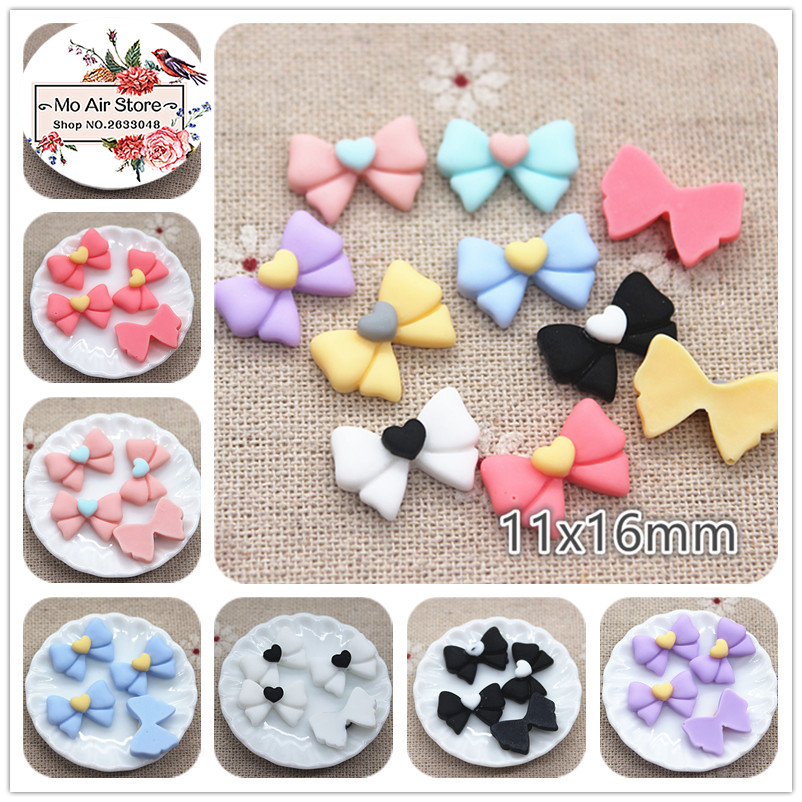 50pcs 11x16mm Mix Color Small Bowknot Resin Flatback Cabochon DIY Jewelry/phone/nail Art Decoration