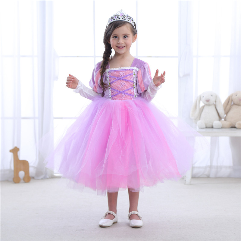 New Girls Cosplay Rapunzel Princess Dress Sofia Children Masquerade Ball Gowns For Kids Halloween Birthday Party Tutu Dress ems dhl free shipping toddler s little girl s tull dress princess birthday party masquerade rapunzel cosplay halloween wear
