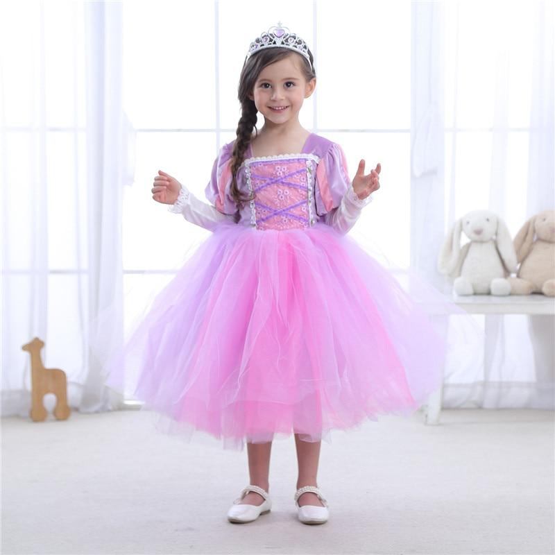 New Girls Cosplay Rapunzel Princess Dress Sofia Children Masquerade Ball Gowns For Kids Halloween Birthday Party Tutu Dress bheema venetian ball party women s lace flower mask masquerade halloween red
