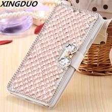 XINGDUO Luxury Bling Rhinestone Diamond phone case  for iphone X XS XR MAX 6 6S 7 8 Plus Wallet Flip Phone Leather
