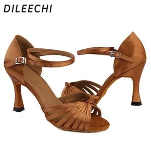 Image 5 - DILEECHI Salsa Womens Latin Dance รองเท้าบอลรูมเต้นรำรองเท้า Bronze 85 มม.ซาตินนุ่ม outsole