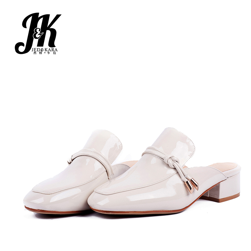 JK Pu Thick Med Heels Pumps Women Square Toe Footwear Metal Decoration Mules Shoes Female Slip-Up Shoes Woman 2019 Spring NewJK Pu Thick Med Heels Pumps Women Square Toe Footwear Metal Decoration Mules Shoes Female Slip-Up Shoes Woman 2019 Spring New