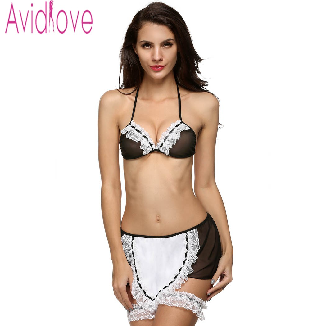 Avidlove Hot Cosplay Maid Clothing Sexy Lingerie Women Costumes Fascinate Babydolls Sexy Underwear Role Play Night Dress U2