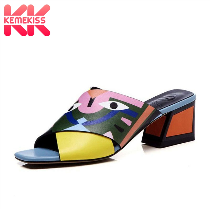 KemeKiss Women Genuine Leather Sandals High Heel Slippers Mixed Color Animals Print Slides Summer Beach Shoes