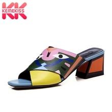 Купить с кэшбэком KemeKiss Women Genuine Leather Sandals High Heel Slippers Mixed Color Animals Print Slides Summer Beach Shoes Women Size 33-43