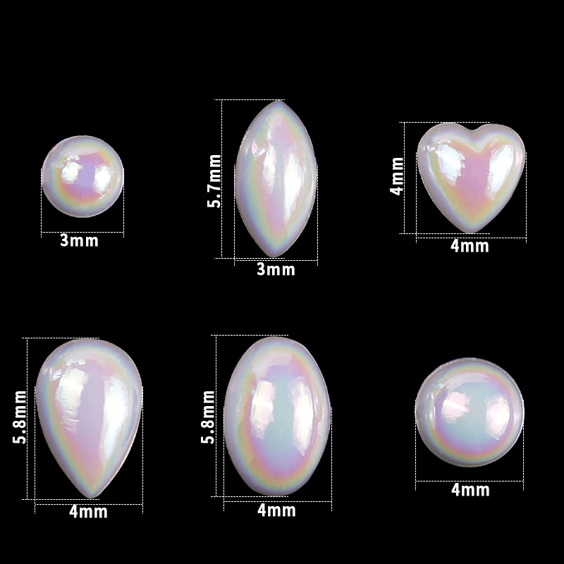 1 Wheel Flat Bottom Pearl Nail Decoration 3D AB White Color Heart Round Drop of Water Nail Art Pearl Decoration NSE01 in Rhinestones Decorations from Beauty Health