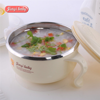 Baby Bowl Feeding Cup Suction Plate BPA Free 304 Stainless Steel Bowl With Lid Filling Water