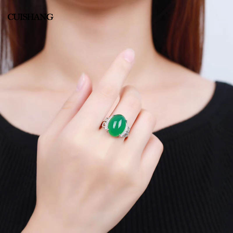 CSJ natural green agate rings sterling 925 silver real gemstone fine jewelry for women party gift ethnic wind bracelets men and women decorations green agate 925 silver ball duobao string original jewelry