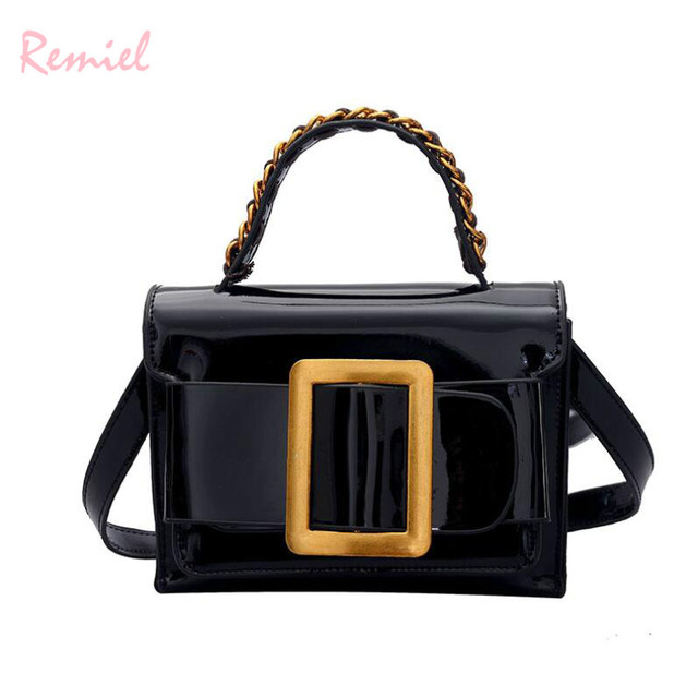 2e7ee30981 Women s Designer Handbag 2018 Summer New Square package High quality Shiny  Patent Leather Women bag Tote Shoulder Messenger Bags