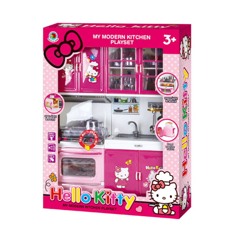 ФОТО 2017 Kids Kitchen toy for Girl Children Toys Plastic Educational Pretend Toys led Light Sound Stove Oven Cute Hello kitty toy