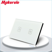 US Standard Touch Switch 2 Gang 2 Way White Crystal Glass panel,Light Switch wall switch,wall socket for lamp