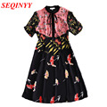 Vintage Print Dress 2017 Spring Summer High Quality Fashion Elegant Short Sleeves Stand Collar Patchwork Colors Women Mini Dress