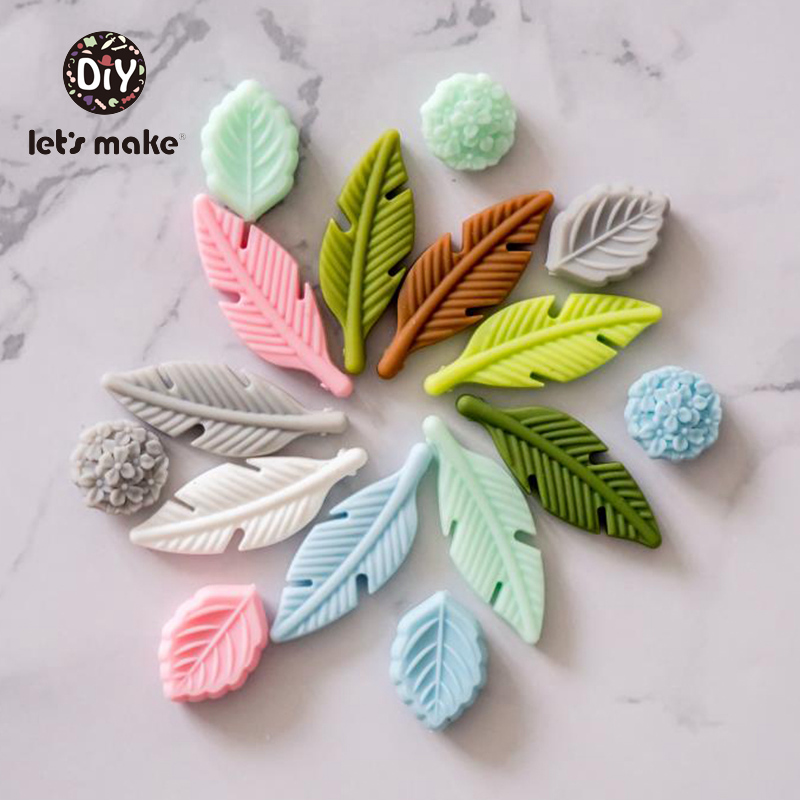 Silicone Feather Leaf Teething Necklace Baby Teether Soother Chew Toy BPA Free