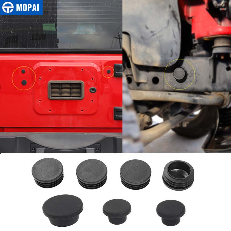 MOPAI Car Chassis Frame Round Hole Dust Plugs Tail Door Rubber Plug Decoration Cover for Jeep Wrangler 2007 Up Car Styling