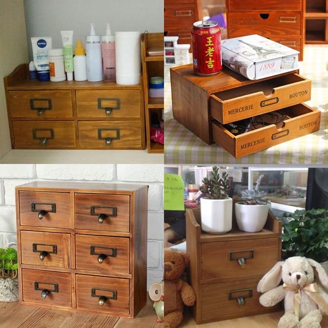 Wooden Retro Drawer Type Storage Cabinet Household Tabletop Multifunctional Box Sundries Finishing