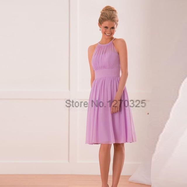 Robe demoiselle d\'honneur2017 new chiffon hanging neck ALine lavender  bridesmaid dresses short plus size vestido madrinha-in Bridesmaid Dresses  from ...