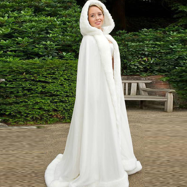 Romantic 2016 Hooded Bridal Cape Ivory White Long Wedding Cloaks Faux Fur With Satin For Winter Bridal Wraps Bolero Jacket Hot