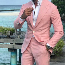 Summer Pink Linen Men Suits Set Wedding Tuxedo for Groom Wear 2 Piece Suit Man Costume Homme Slim Fit Terno Masculino Prom Party